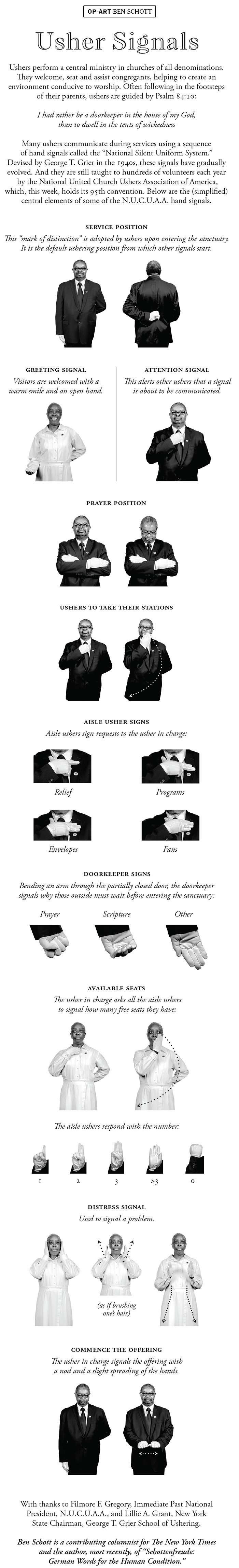 Opinion   Usher Signals - The New York Times - Free Printable Church Usher Hand Signals