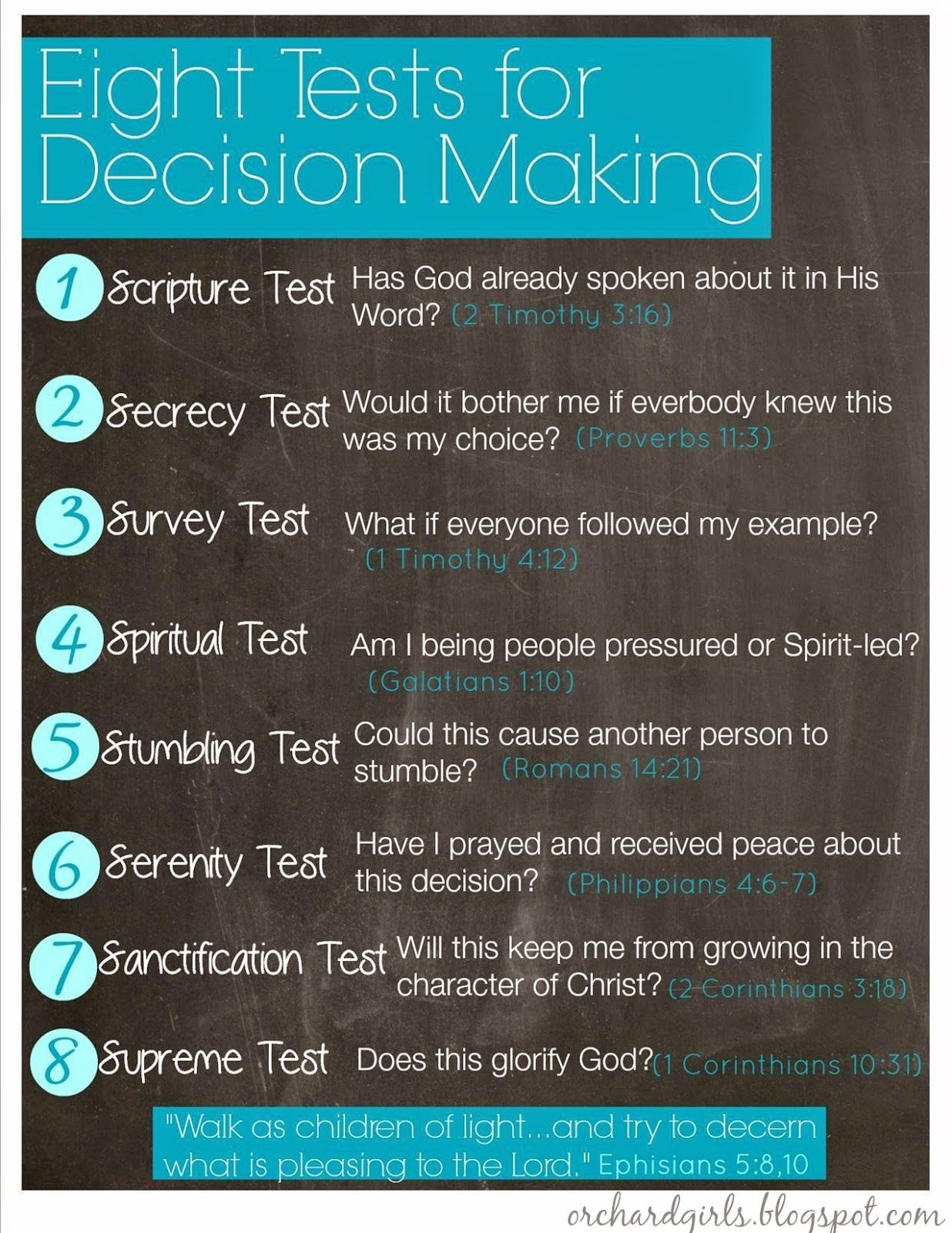 Orchard Girls: Eight Tests For Decision Making | Free Printable - Free Printable Spiritual Gifts Test For Youth