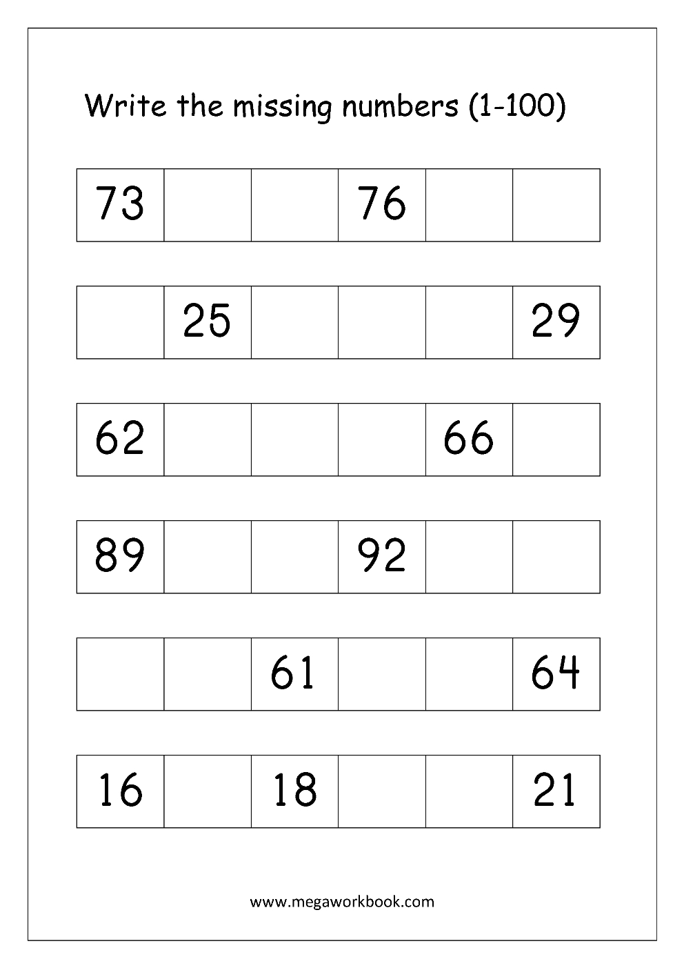 Ordering Numbers Worksheets, Missing Numbers, What Comes Before And - Free Printable Number Worksheets 1 100