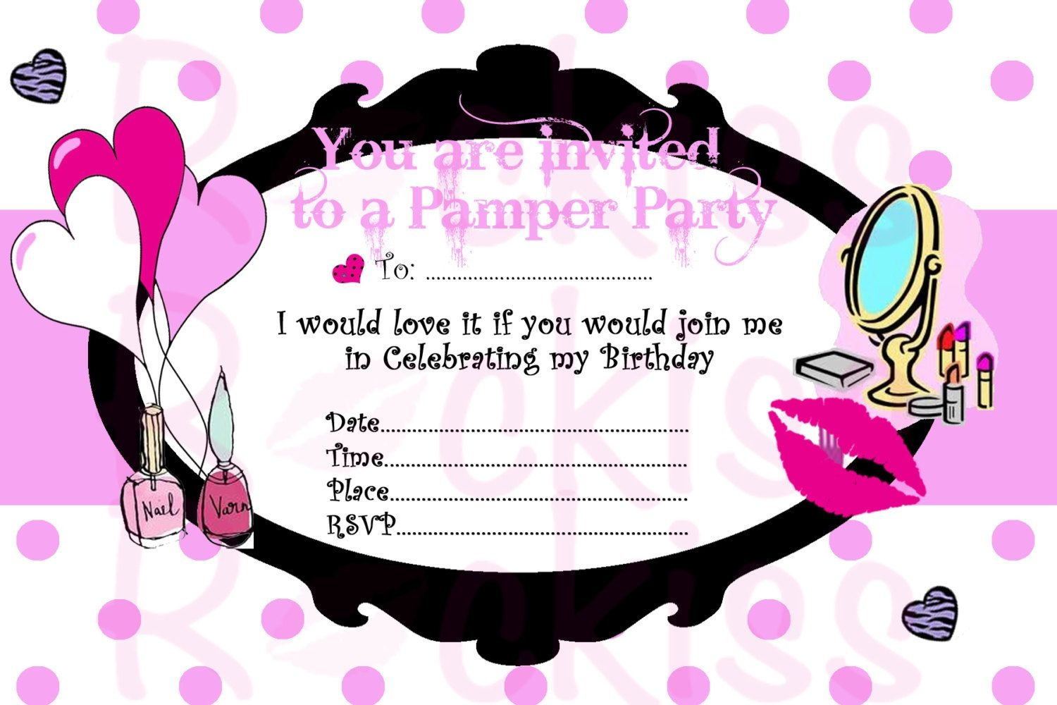 Pamper Party Invite Template - Tutlin.psstech.co - Free Printable Spa Party Invitations Templates