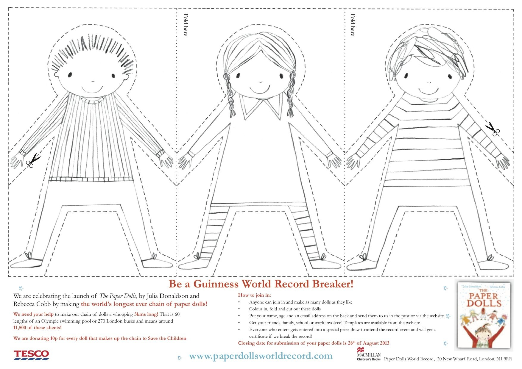 Paper Doll Chain Template - Julia Donaldson Paper Dolls Printable - Free Printable Paper Dolls From Around The World