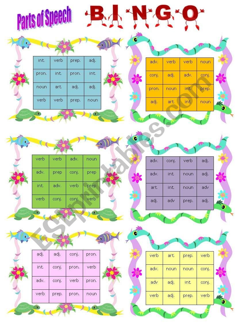 Parts Of Speech Bingo Teaching Ela Parts Of Speech Adverbs - Free Printable Parts Of Speech Bingo