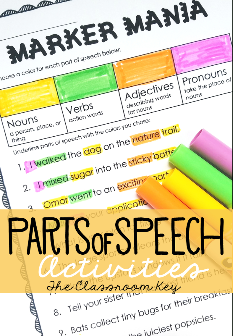 Parts Of Speech Practice Activity Or Center | Elementary Literacy - Free Printable Parts Of Speech Bingo