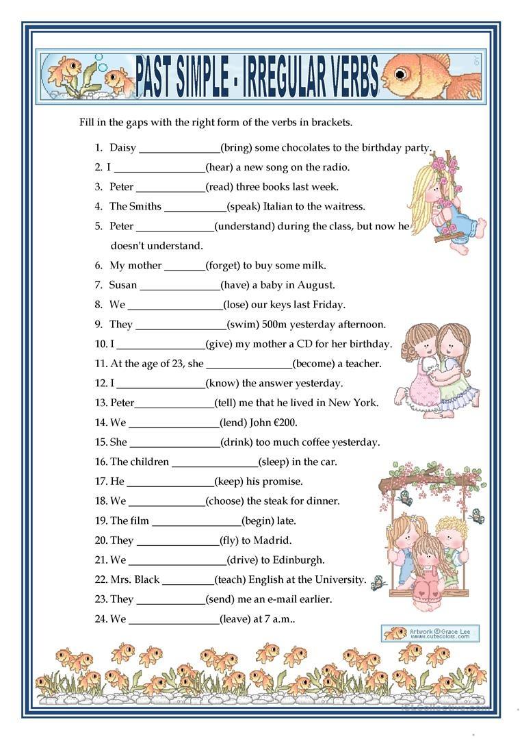 Past Simple - Irregular Verbs Worksheet - Free Esl Printable - Free Printable Past Tense Verbs Worksheets