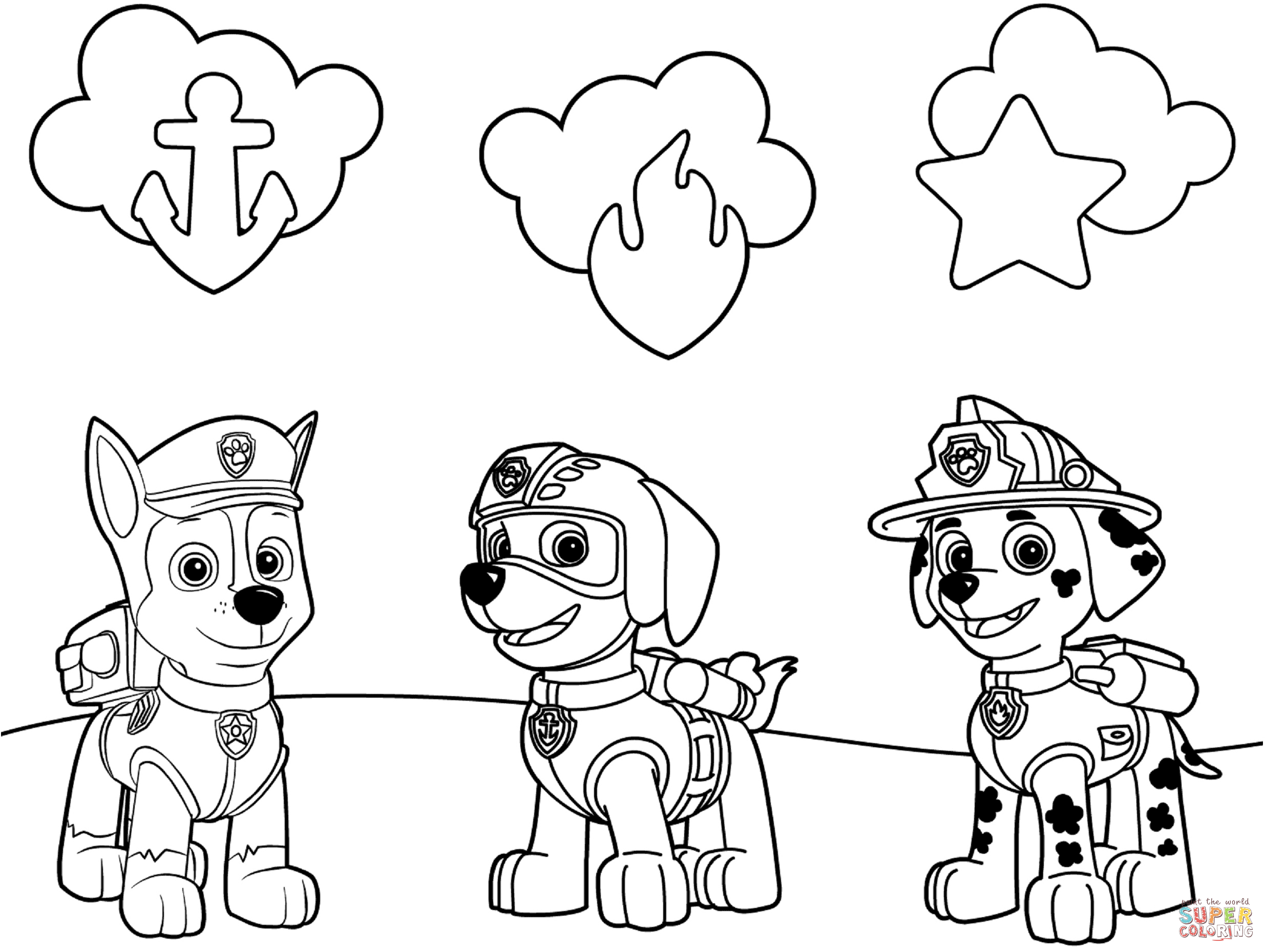 Paw Patrol Badges Coloring Page | Free Printable Coloring Pages - Free Printable Paw Patrol Coloring Pages