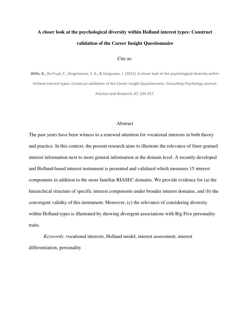 Pdf) 18Rest: A Short Riasec-Interest Measure For Large-Scale - Printable Career Interest Survey For High School Students Free