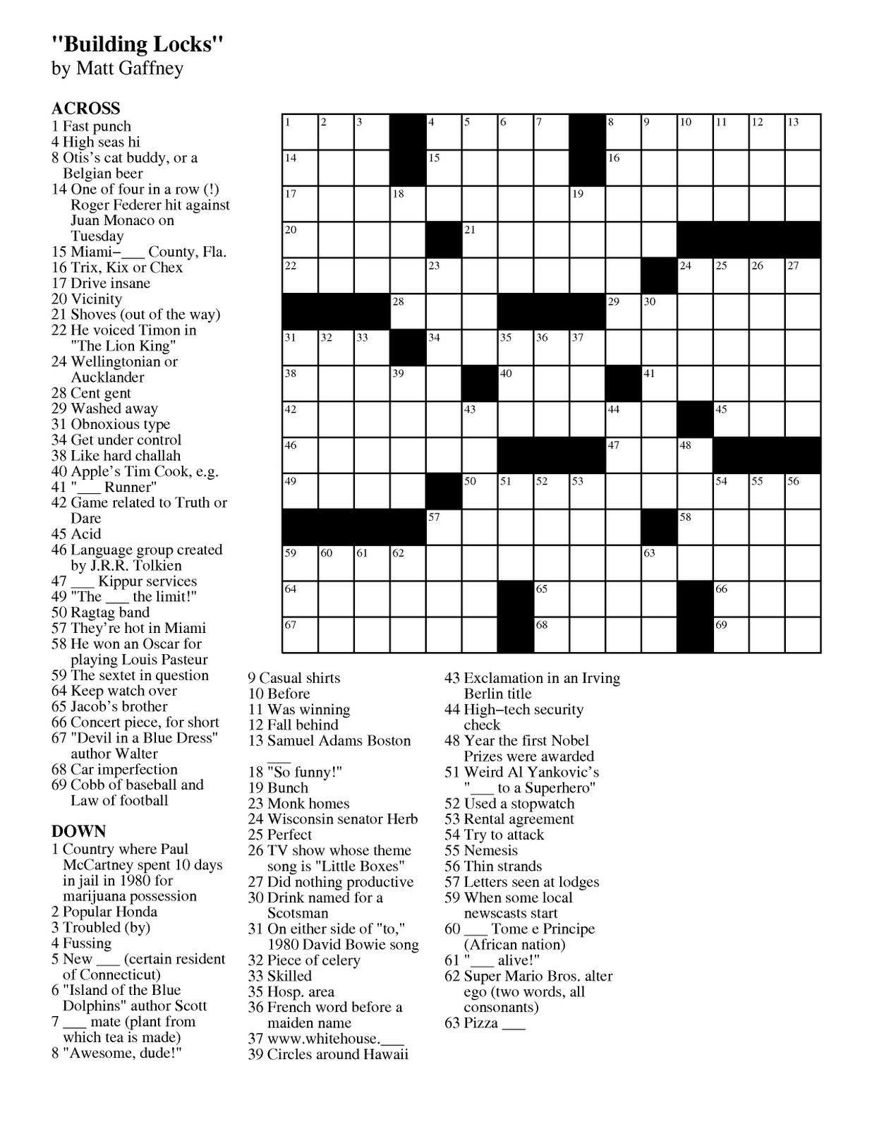 Pdf Easy Latin Crossword Puzzles - Free Daily Printable Crosswords
