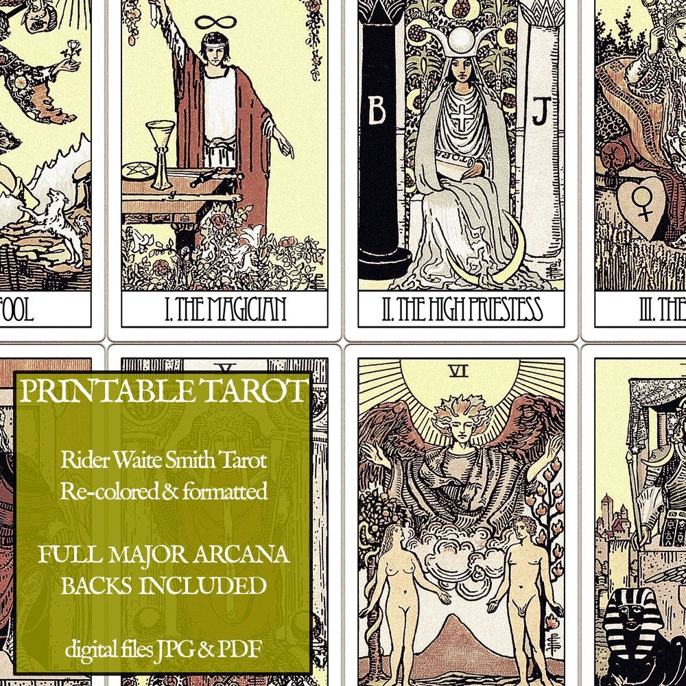Pdf - Printable Tarot Cards - Rider Waite Major Arcana - Vintage - Printable Tarot Cards Pdf Free