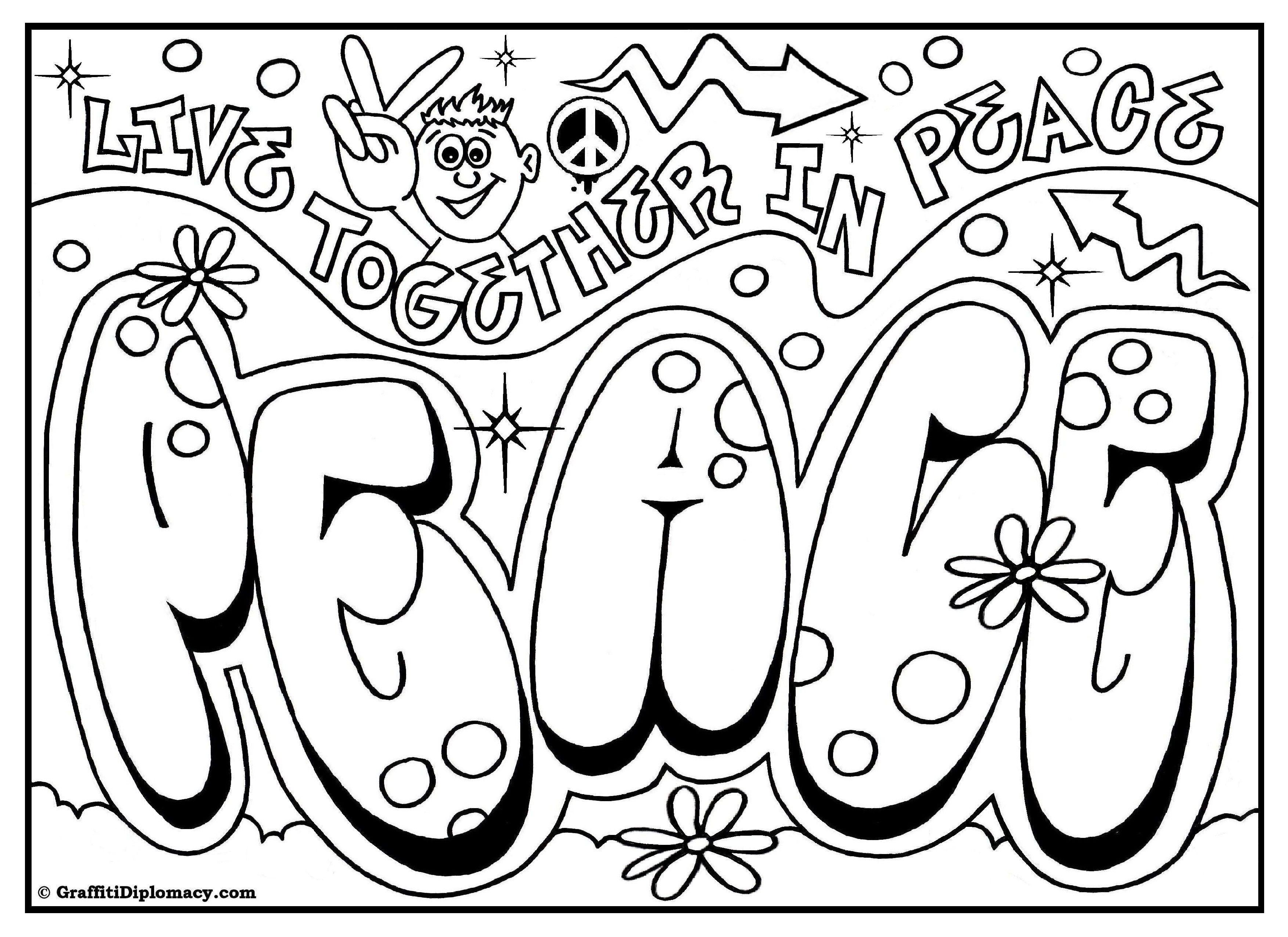 Peace Graffiti, Free Printable Coloring Page | Free Coloring Pages - Free Printable Coloring Pages For Teens