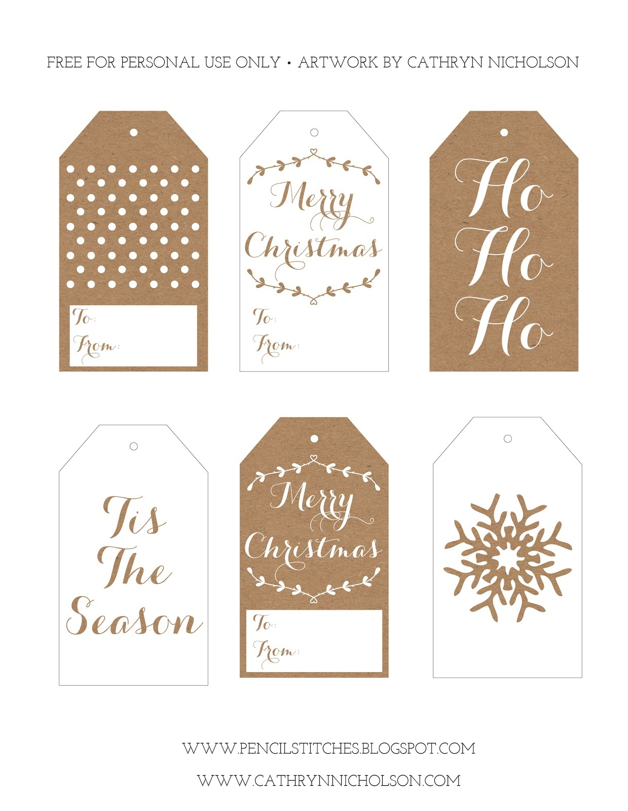 Pencil Stitches: Free Printable Christmas Gift Tags - Free Printable Christmas Gift Tags