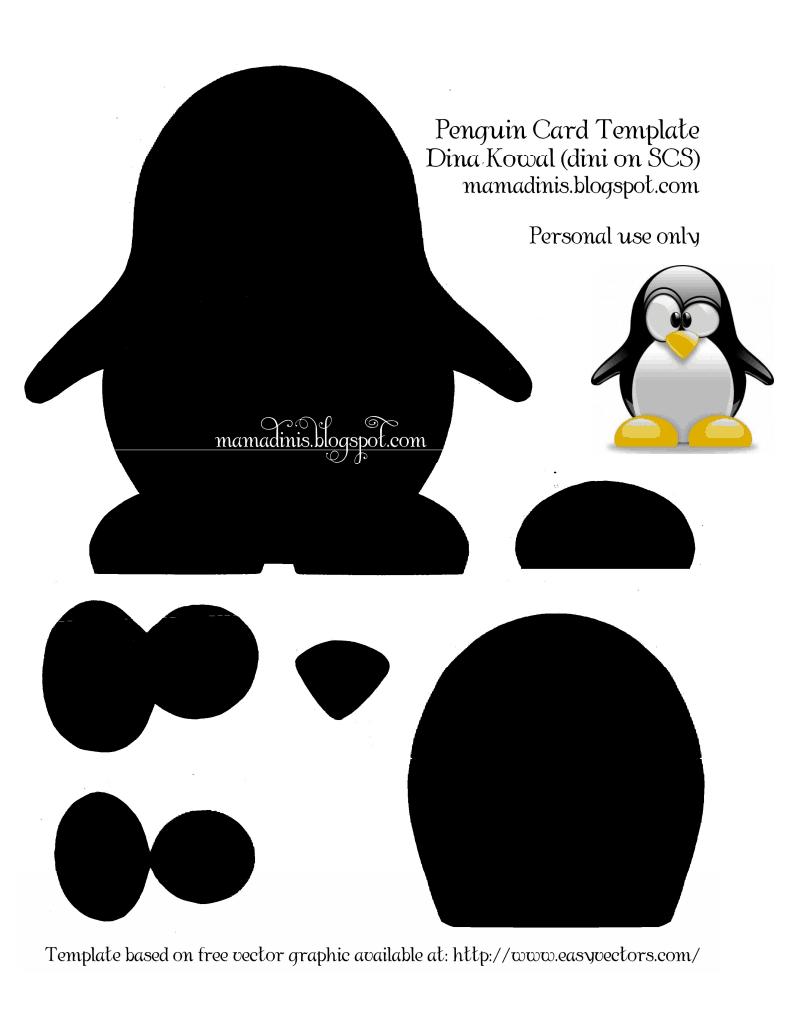 Penguin Card Template.pdf | Cutting Files | Card Templates, Penguins - Free Printable Penguin Template