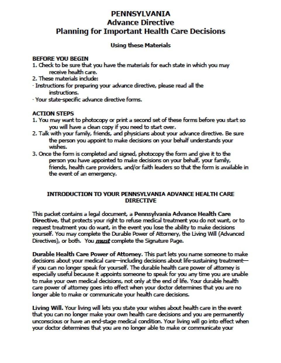 Pennsylvania Medical Power Of Attorney Form - Power Of Attorney - Free Printable Power Of Attorney Form Florida