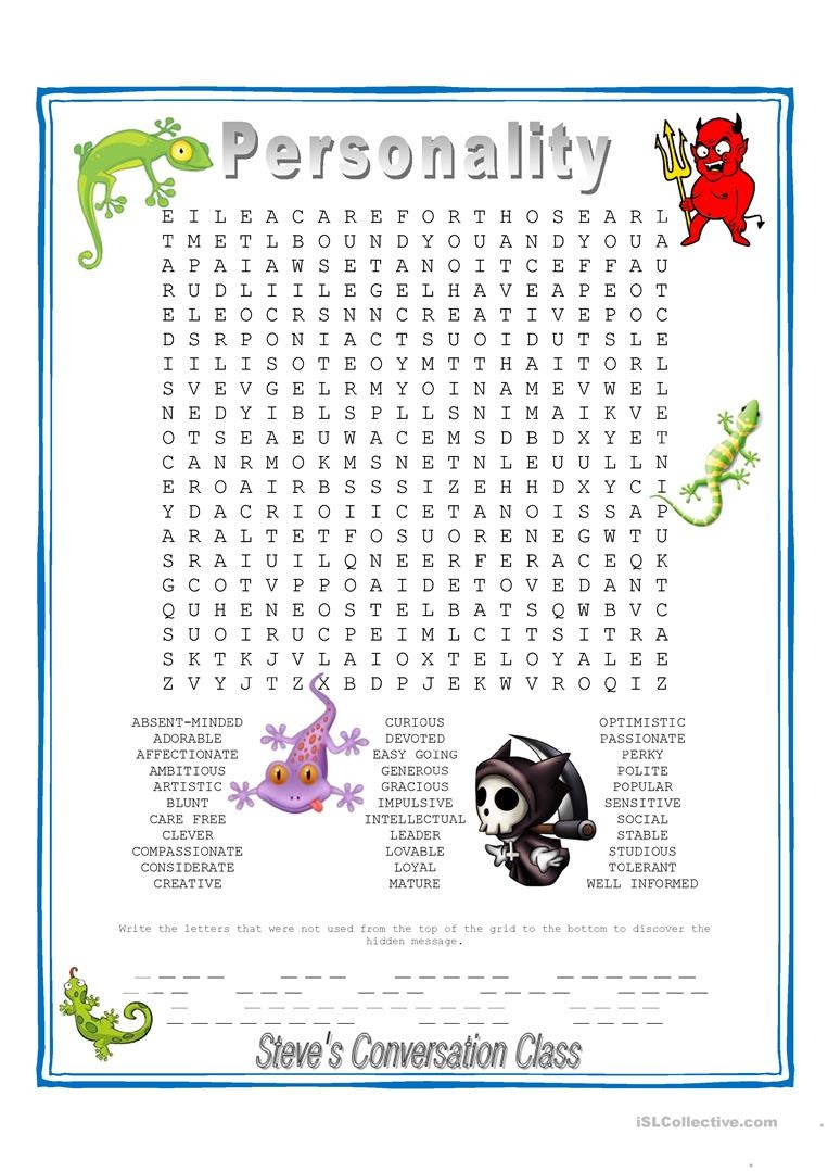 Personality - Hidden Message Wordsearch Worksheet - Free Esl - Free Word Search With Hidden Message Printable
