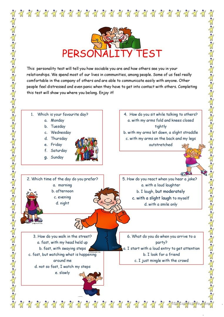 Personality Test I. Worksheet - Free Esl Printable Worksheets Made - Free Printable Personality Test