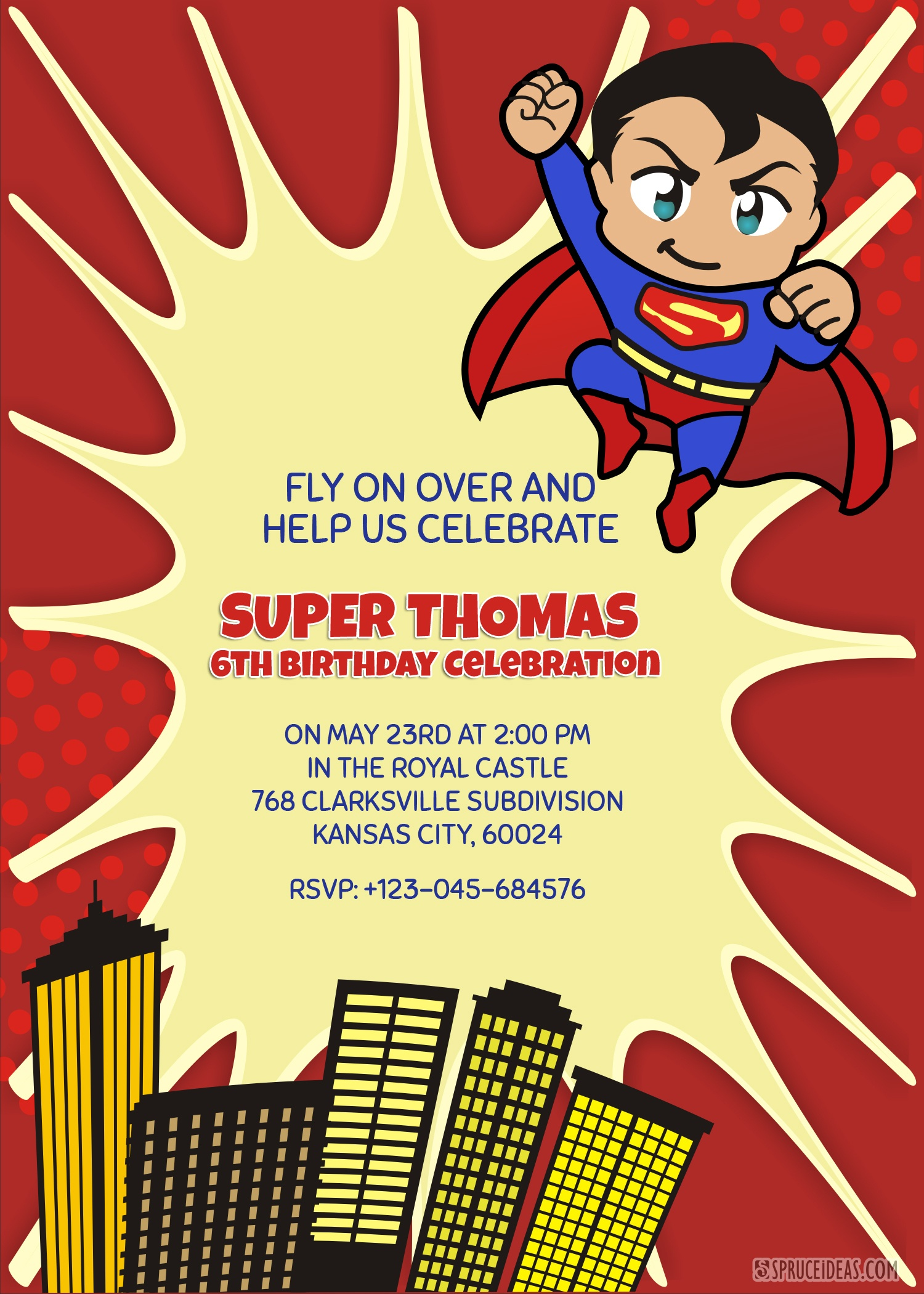 Personalized Superhero Superman Birthday Invitation Template - Free Printable Superhero Birthday Invitation Templates