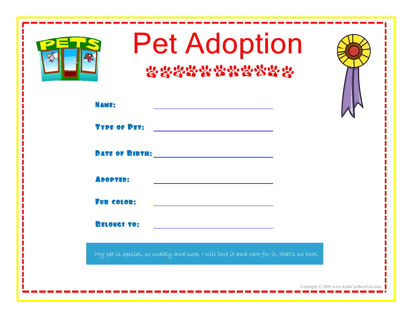Pet Adoption Certificate For The Kids To Fill Out About Their Pet - Free Printable Stuffed Animal Adoption Certificate