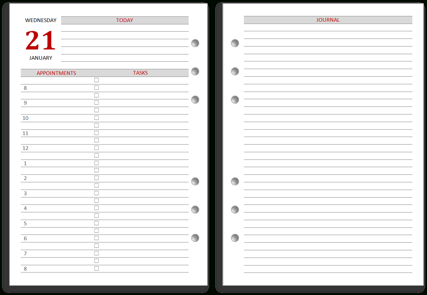 Philofaxy: Diary Inserts For 2019 - Free Printable Diary Pages