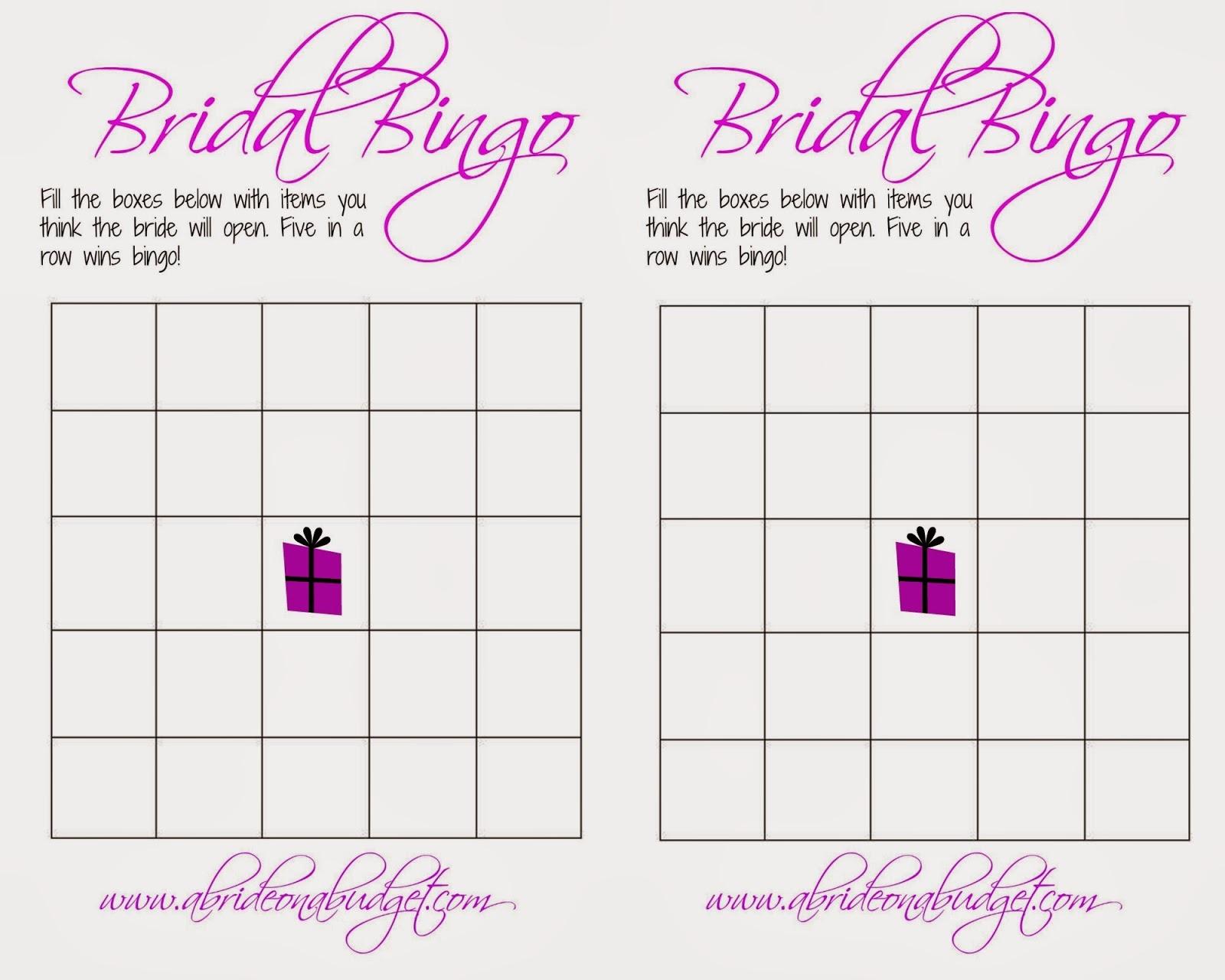 Photo : Free Printable Bridal Shower Image - Free Printable Bridal Shower Bingo