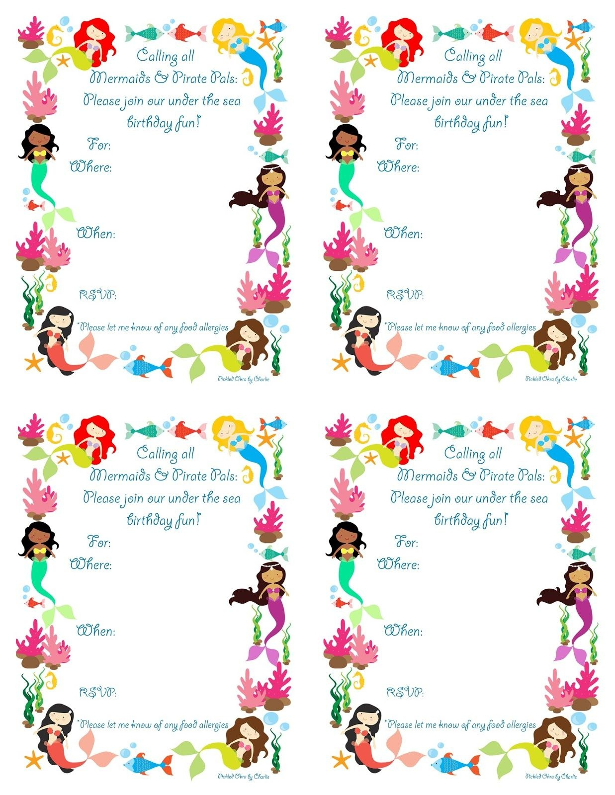 Pickled Okracharlie: Mermaid Bithday Party Invitations, Free - Mermaid Party Invitations Printable Free