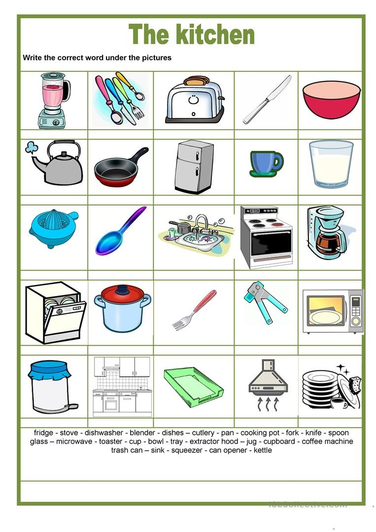 Picture Dictionary - The Kitchen Worksheet - Free Esl Printable - My Spelling Dictionary Printable Free