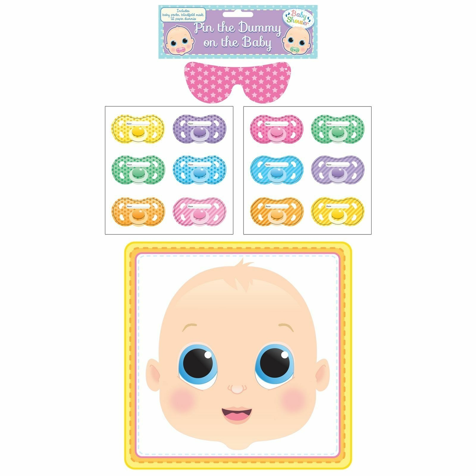 Pin Dummy On The Baby Fun Party Game Shower Celebration Sticker For - Pin The Dummy On The Baby Free Printable