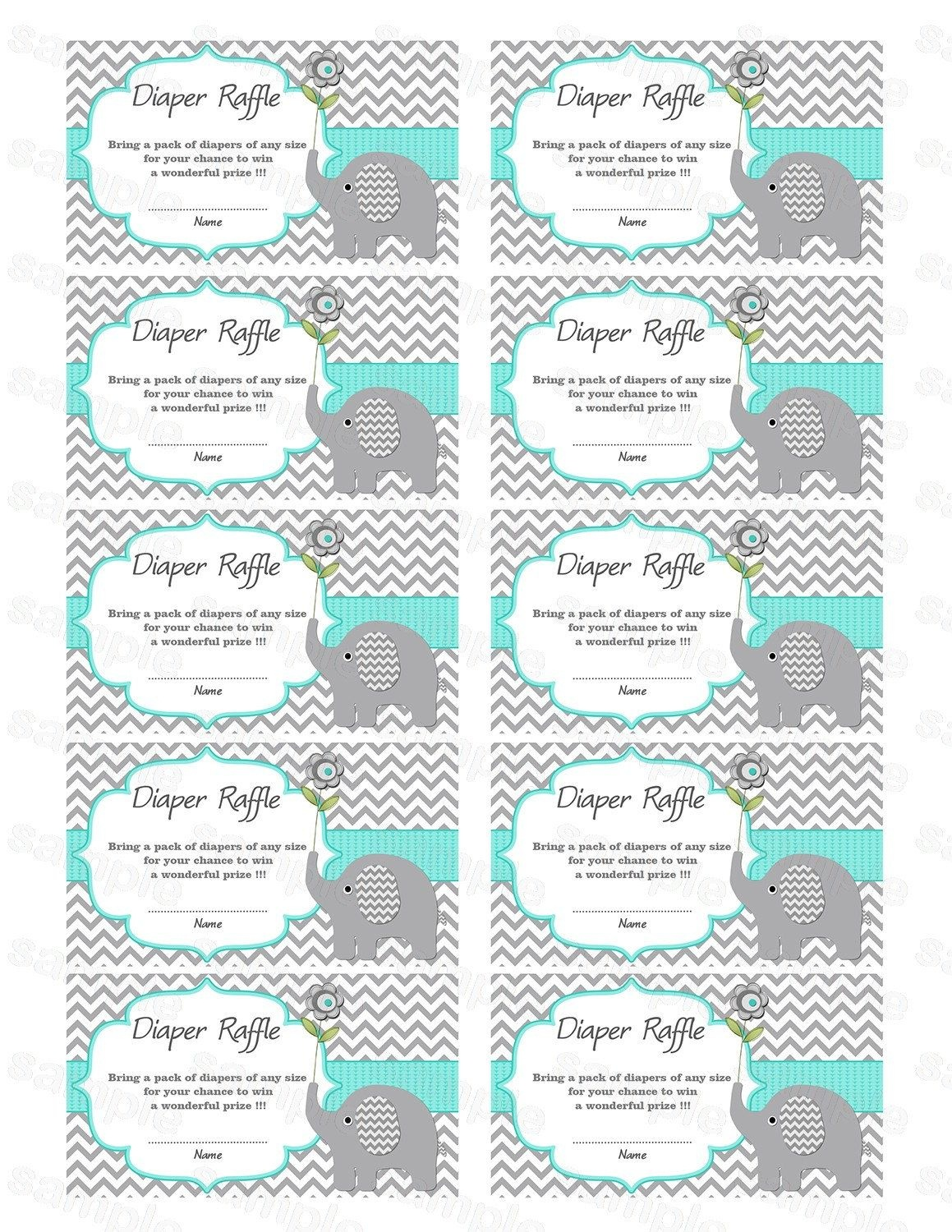 Pincindy Wallace On Diy | Baby Shower Printables, Baby Shower - Free Printable Diaper Raffle Tickets Elephant