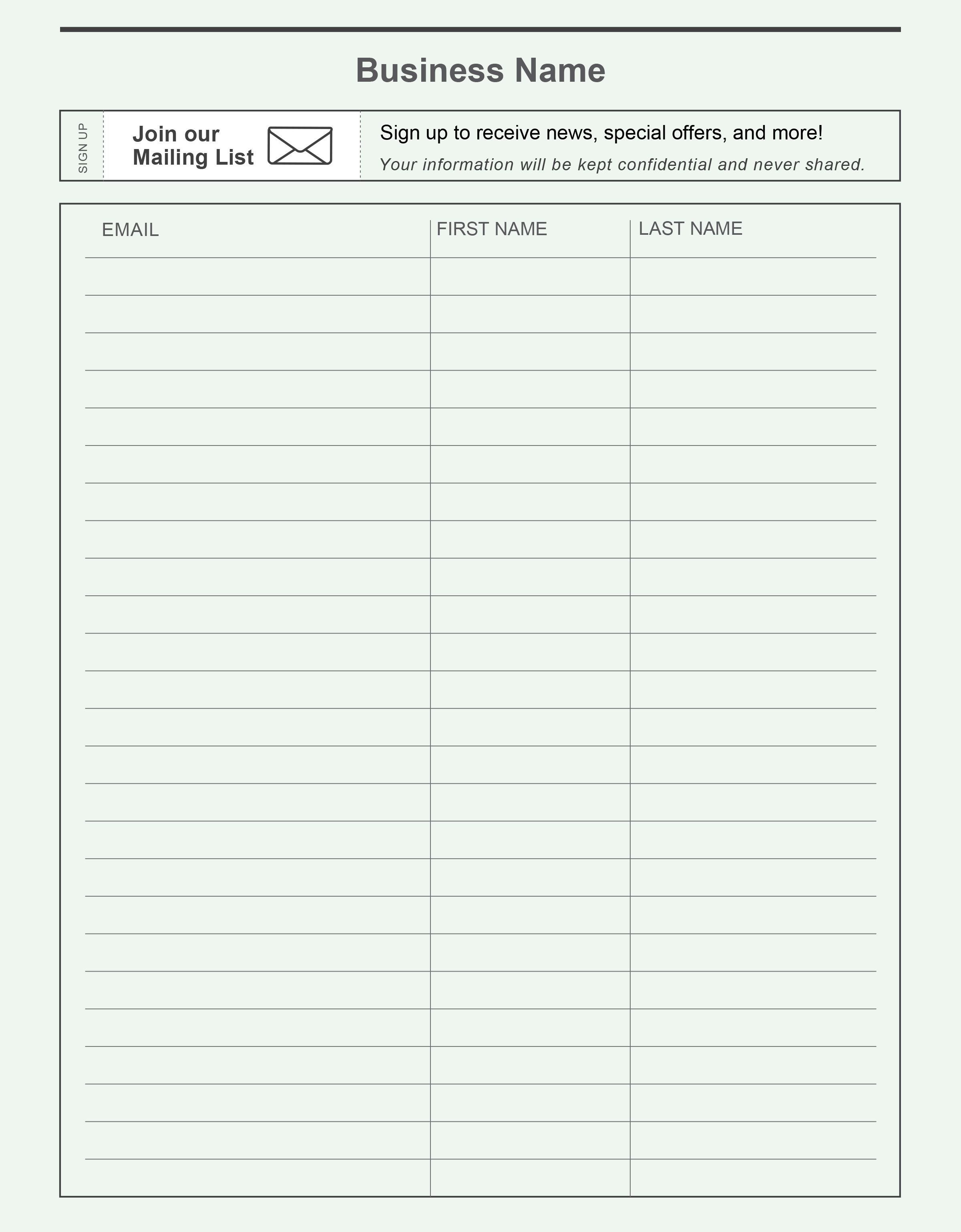 Pinconstant Contact On Grow Your Email List | Email List, Free - Free Printable Sign In Sheet