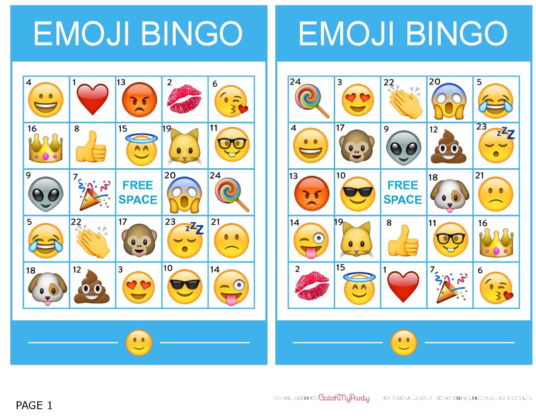 Pincrafty Annabelle On Emoji Printables | Emoji Bingo, Sleepover - Free Emoji Bingo Printable