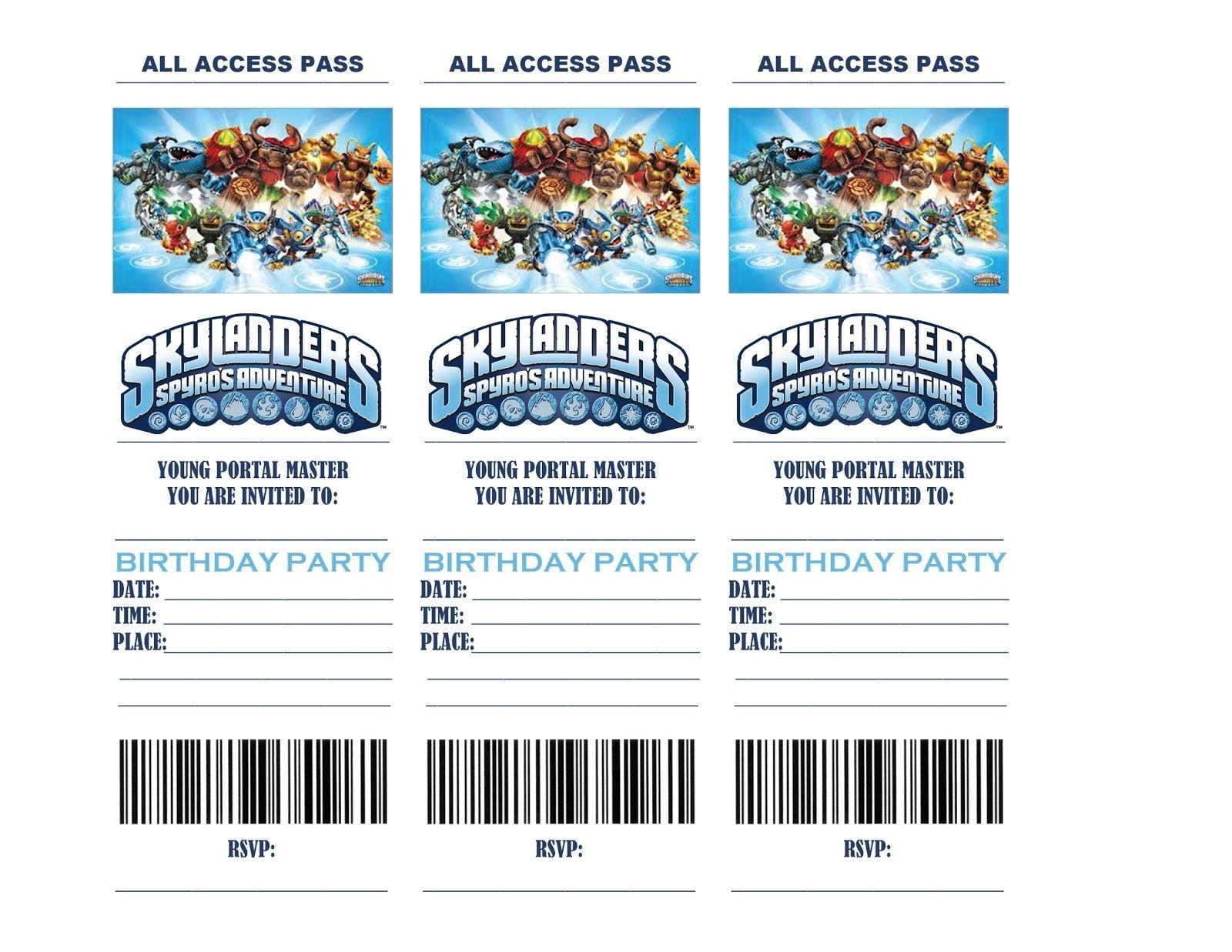 Pincrafty Annabelle On Skylanders Printables   Birthday Party - Free Printable Skylander Invitations