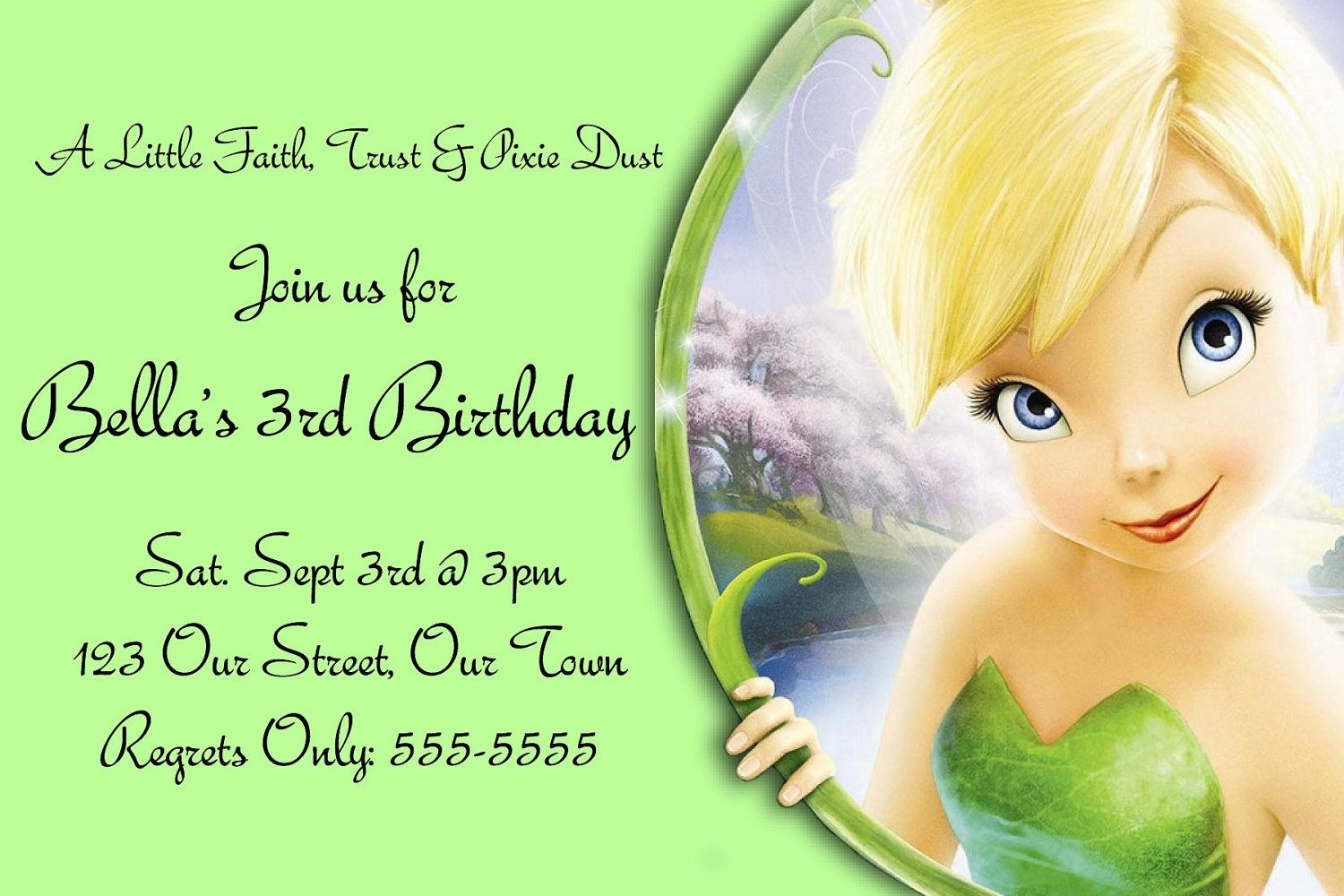 Pindrevio On Free Printable Birthday Invitation In 2019 - Free Tinkerbell Printable Birthday Invitations