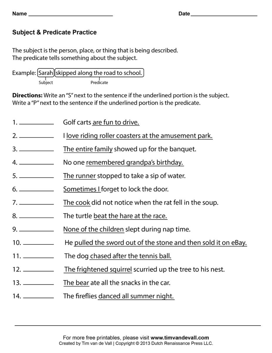 Free Printable Worksheets For 1St Grade Language Arts ...