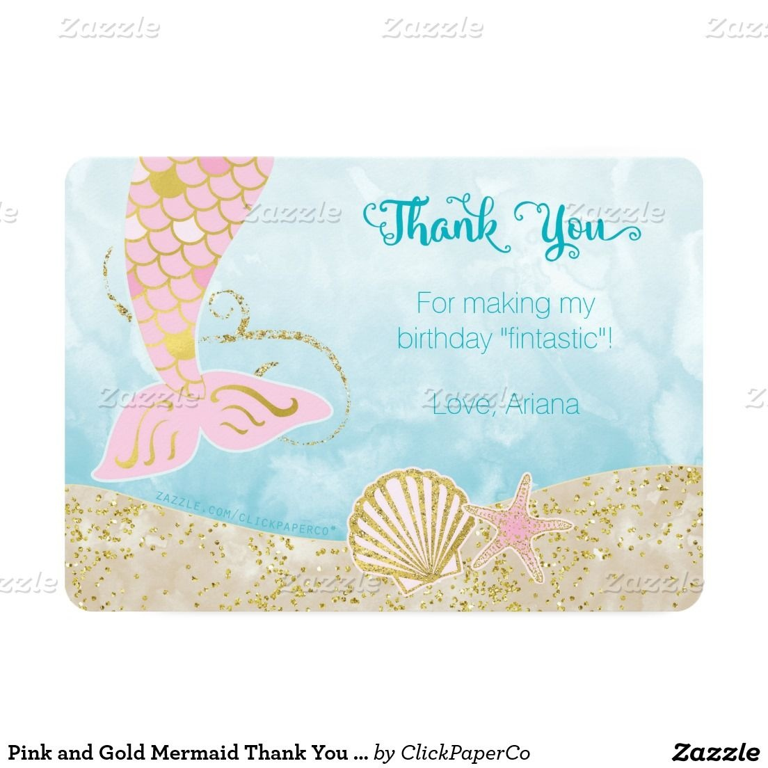 Pink And Gold Mermaid Thank You Card | Zazzle In 2019 | Mermaid - Free Printable Mermaid Thank You Cards
