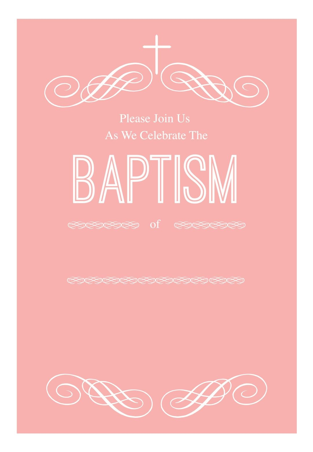 Pink Decorations - Free Printable Baptism & Christening Invitation - Free Printable Personalized Baptism Invitations