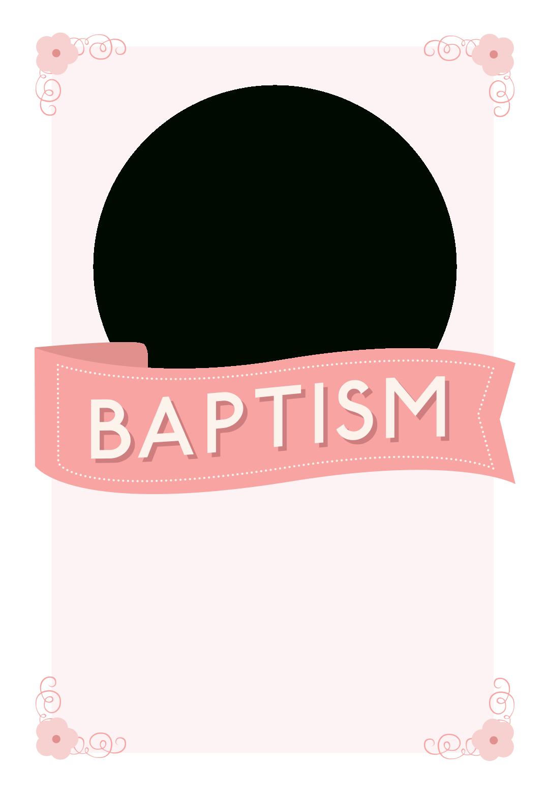 Pink Ribbon - Free Printable Baptism & Christening Invitation - Free Printable Baptism Greeting Cards