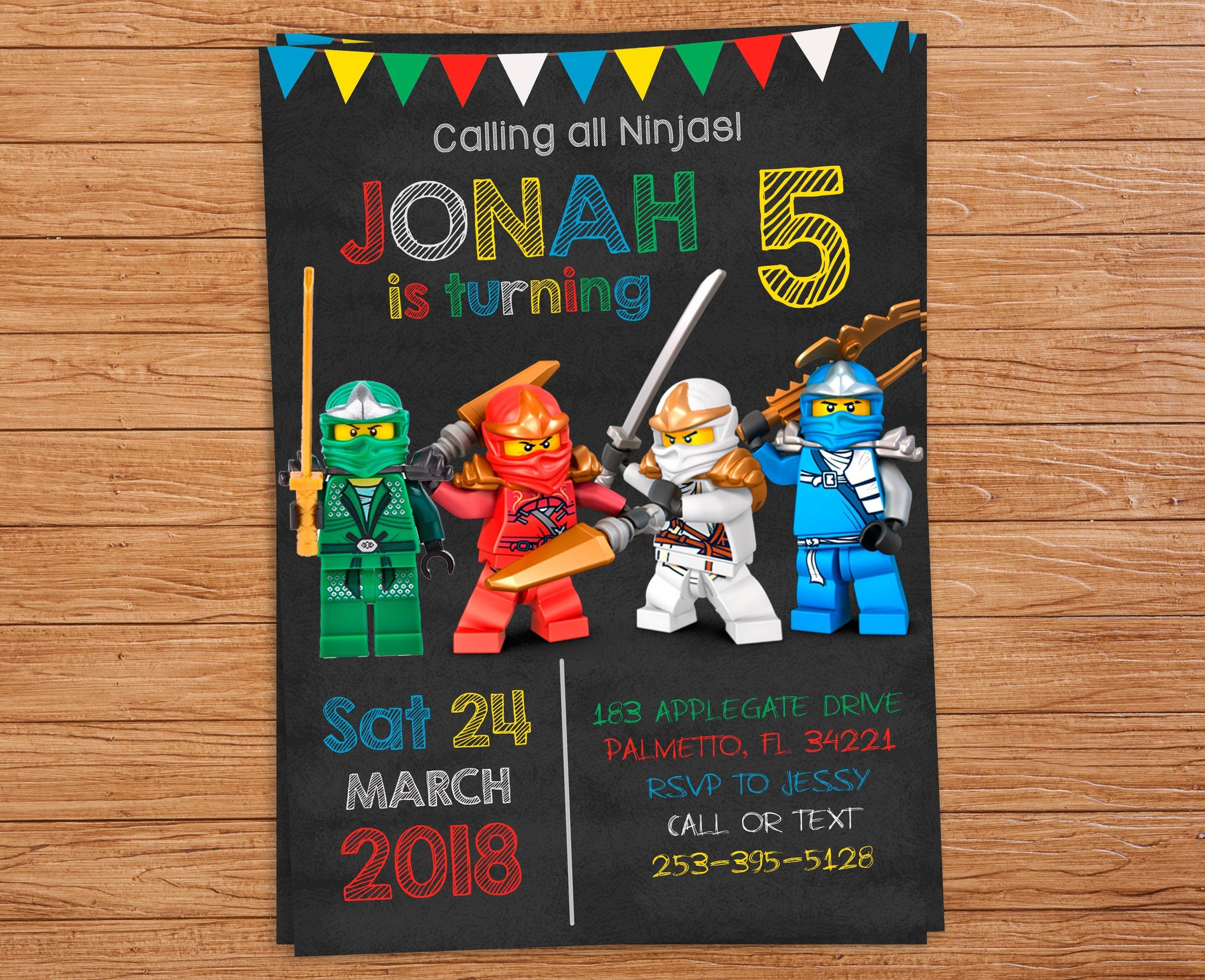 Pinlindsey Hicks On Wesley's 6Th Birthday   Ninjago Party, Ninja - Lego Ninjago Party Invitations Printable Free