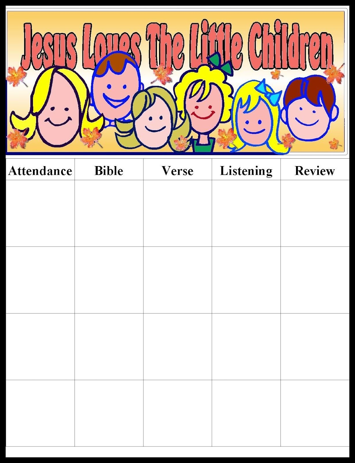 Pinmara Rivera On Sunday School Ideas | Sunday School Kids - Free Printable Sunday School Attendance Sheet