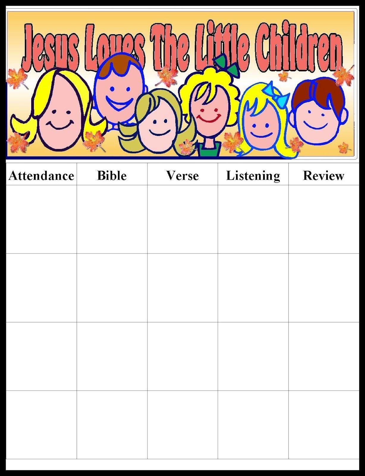 Pinmara Rivera On Sunday School Ideas | Sunday School Kids - Sunday School Attendance Chart Free Printable