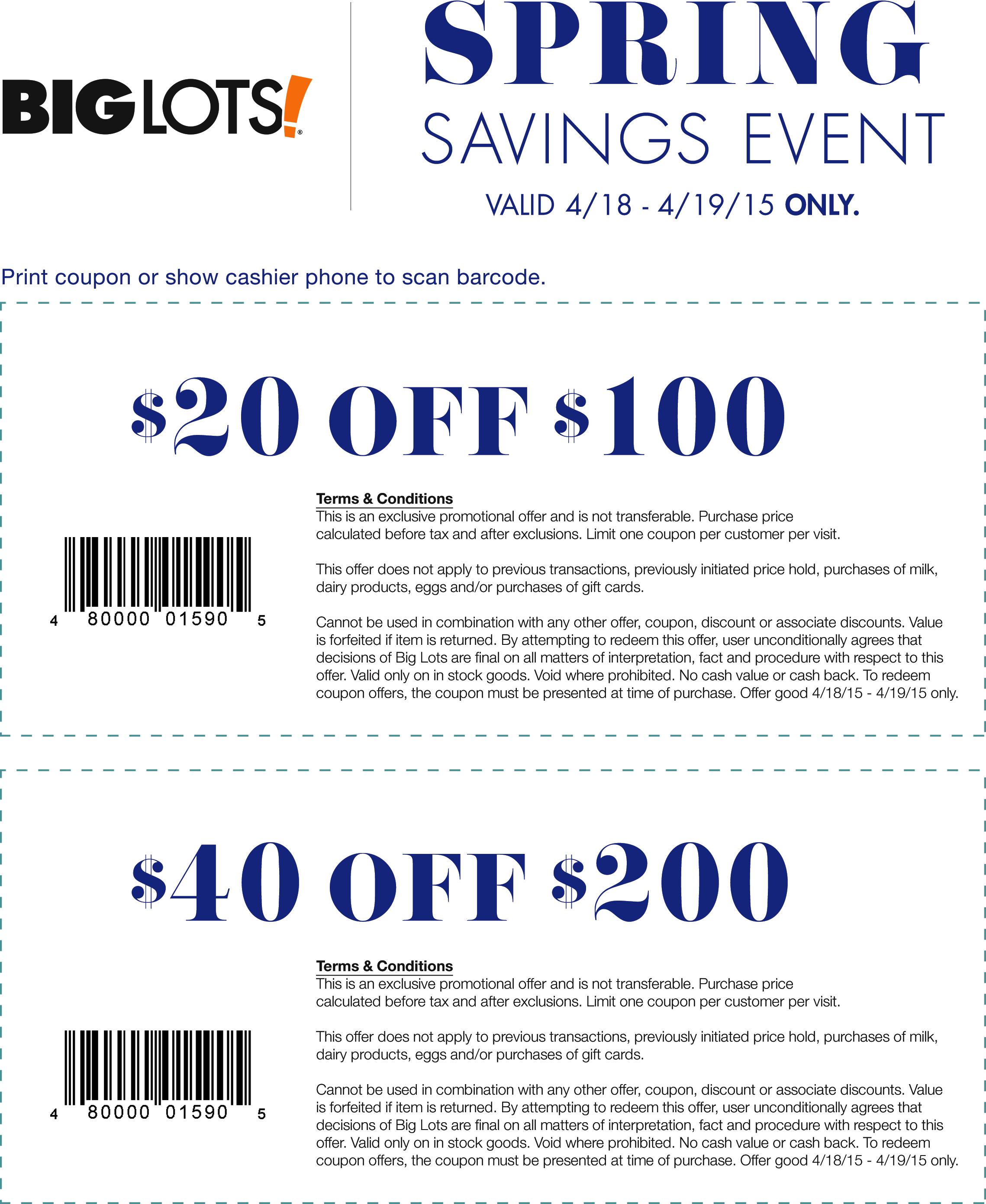 Pinned April 17Th: $20 Off $100 & More At #biglots #coupon Via The - Free Milk Coupons Printable