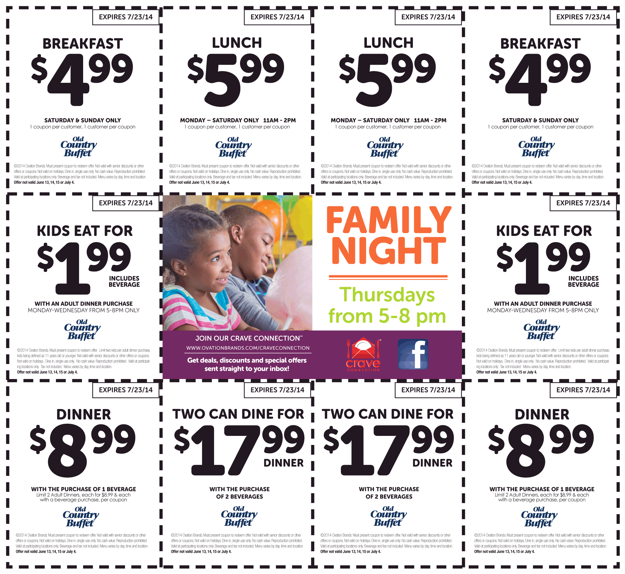 Pinned June 7Th: $2 Kids, $5 Breakfast, $6 Lunch & More At Old - Old Country Buffet Printable Coupons Buy One Get One Free