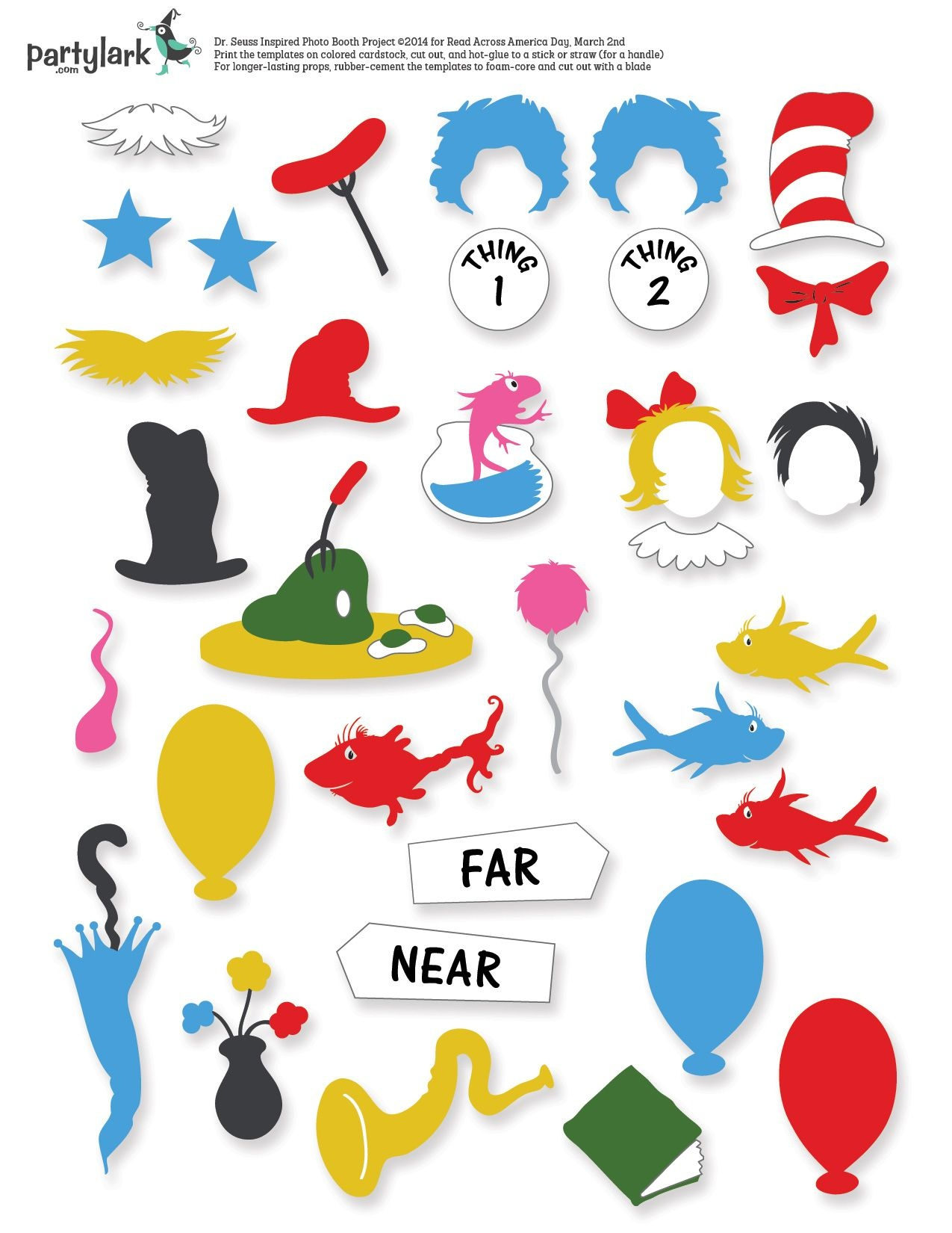 Pinparty Lark On Partytime March: Kiddos & Printables   Dr Seuss - Free Printable Dr Seuss Photo Props