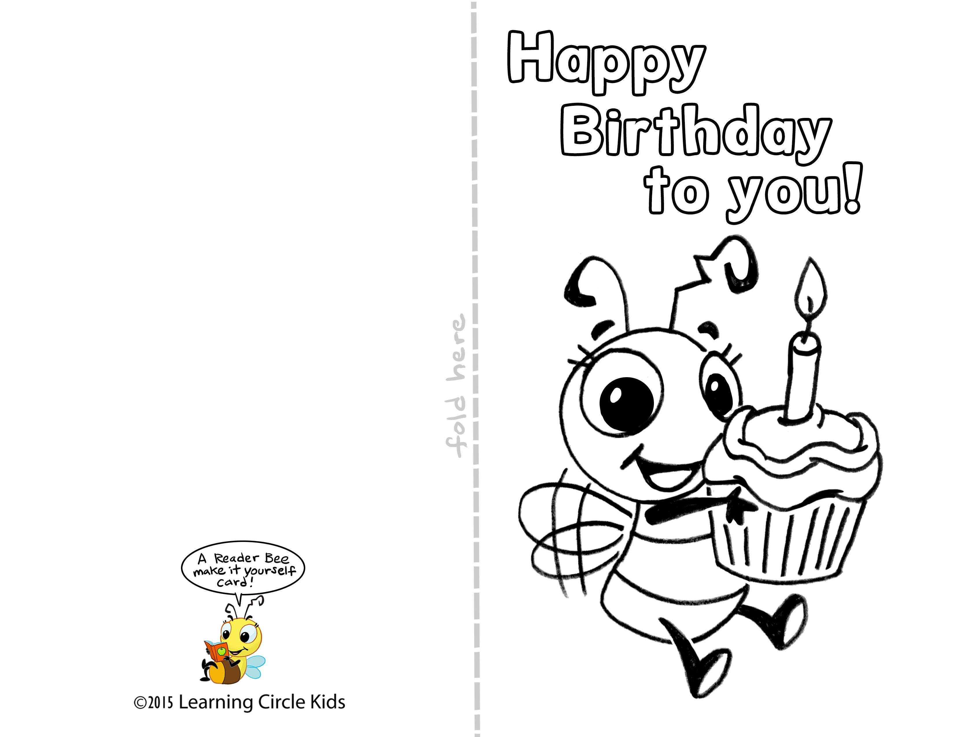 Pinreader Bee On Birthday Celebration - Bee Style | Free - Free Printable Birthday Cards For Kids