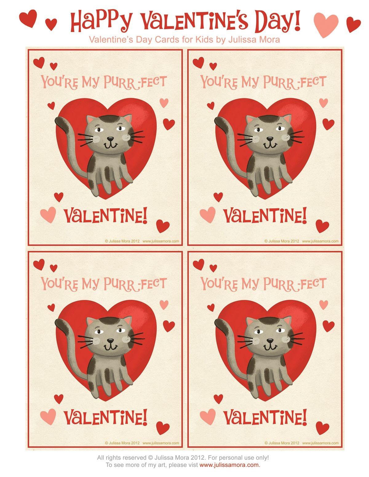 Pinterest - Free Printable Cat Valentine Cards