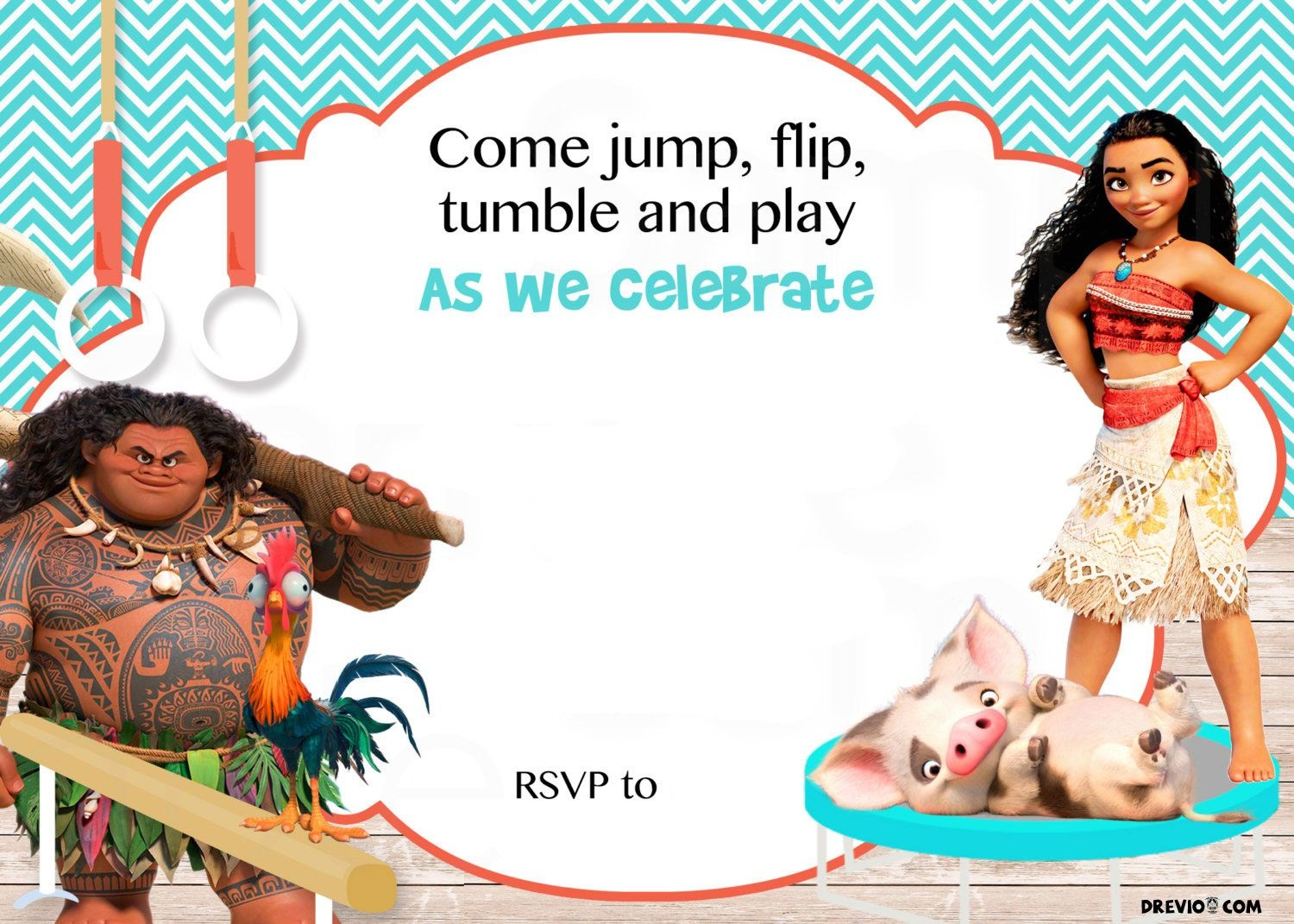 Pinterest - Free Printable Moana Birthday Invitations