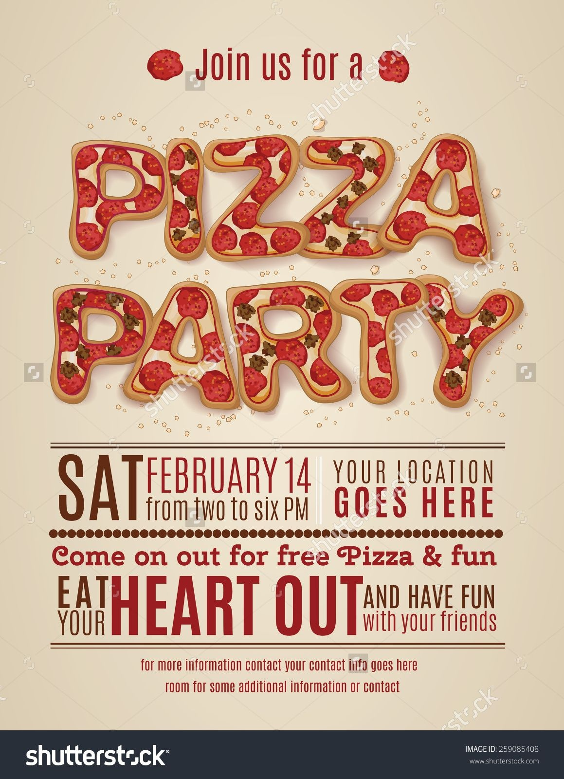 Pizza Party Invitation Template Free - Invitation Templates Design - Free Printable Flyers For Parties
