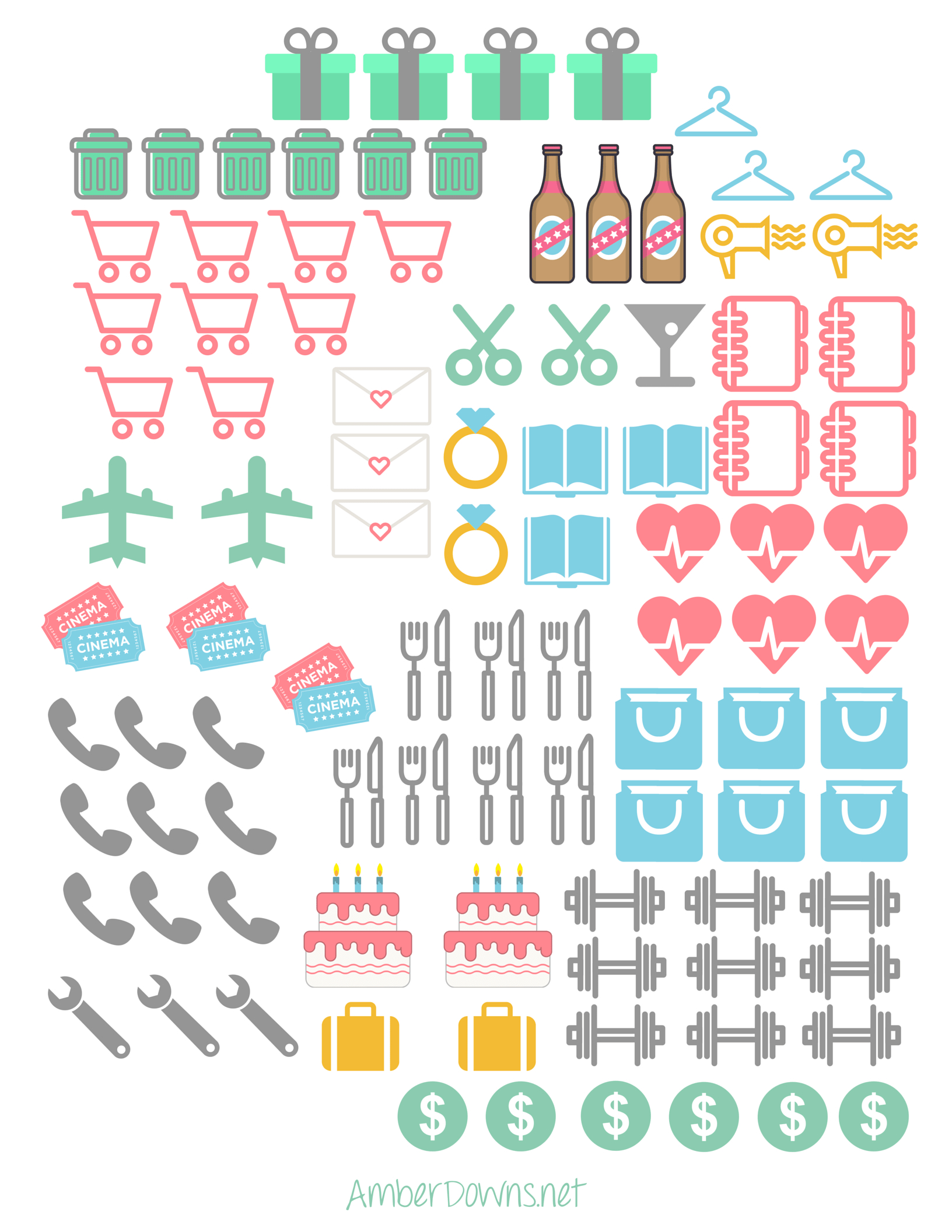 Planner Icon Stickers- Free Printables For Happy Planner And Sil - Free Printable Icons
