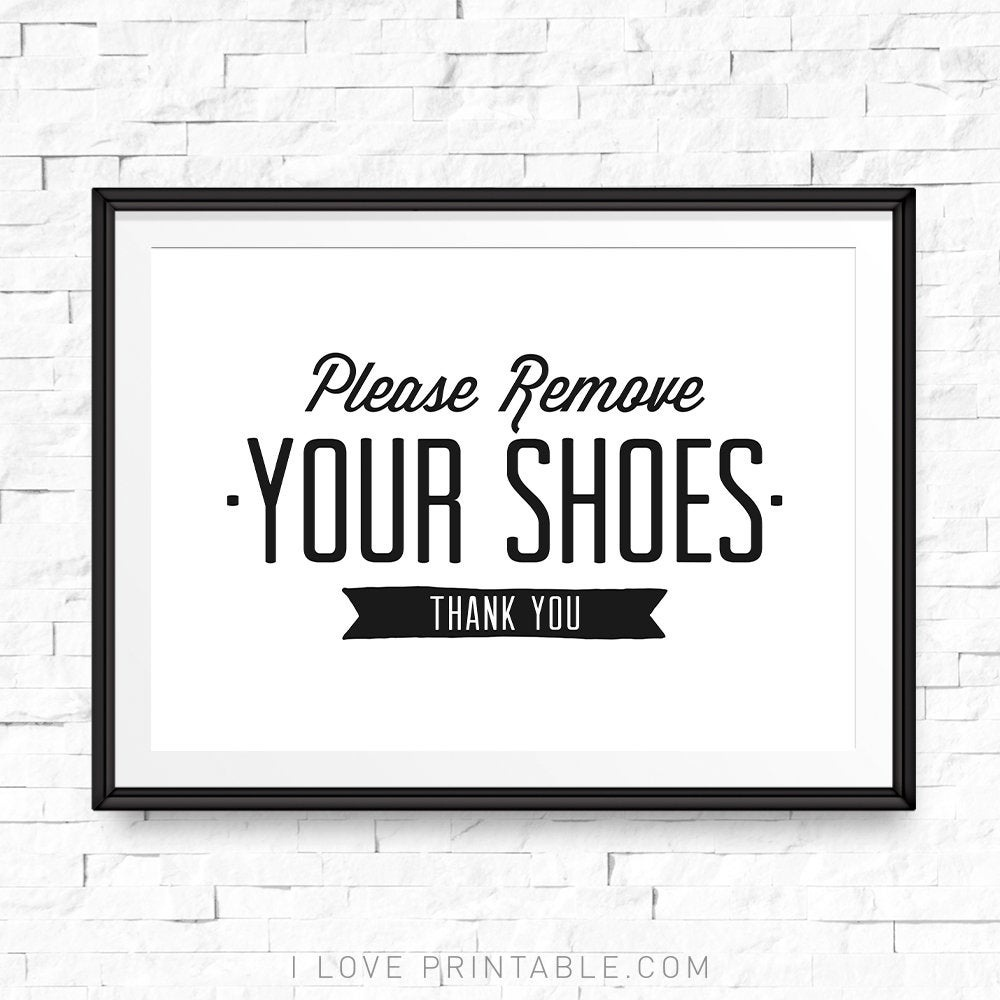 Please Remove Your Shoes Printable Take Shoes Off Sign Shoe   Etsy - Free Printable Remove Your Shoes Sign
