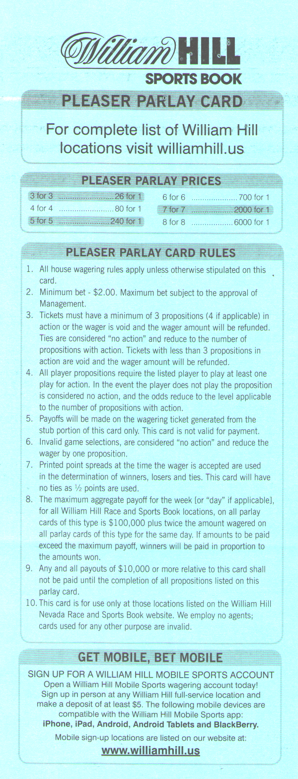 Pleaser Bets In The Nfl - Free Printable Parlay Cards