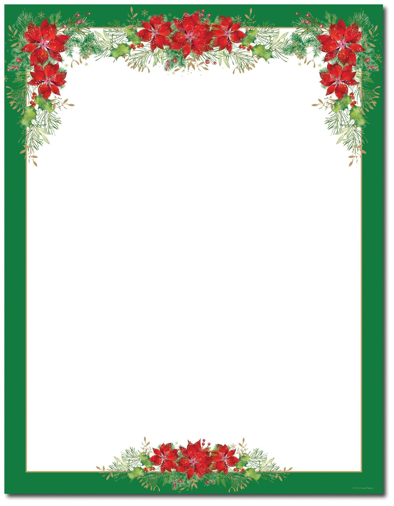 Poinsettia Valance Letterhead | Holiday Papers | Christmas Border - Free Printable Christmas Letterhead