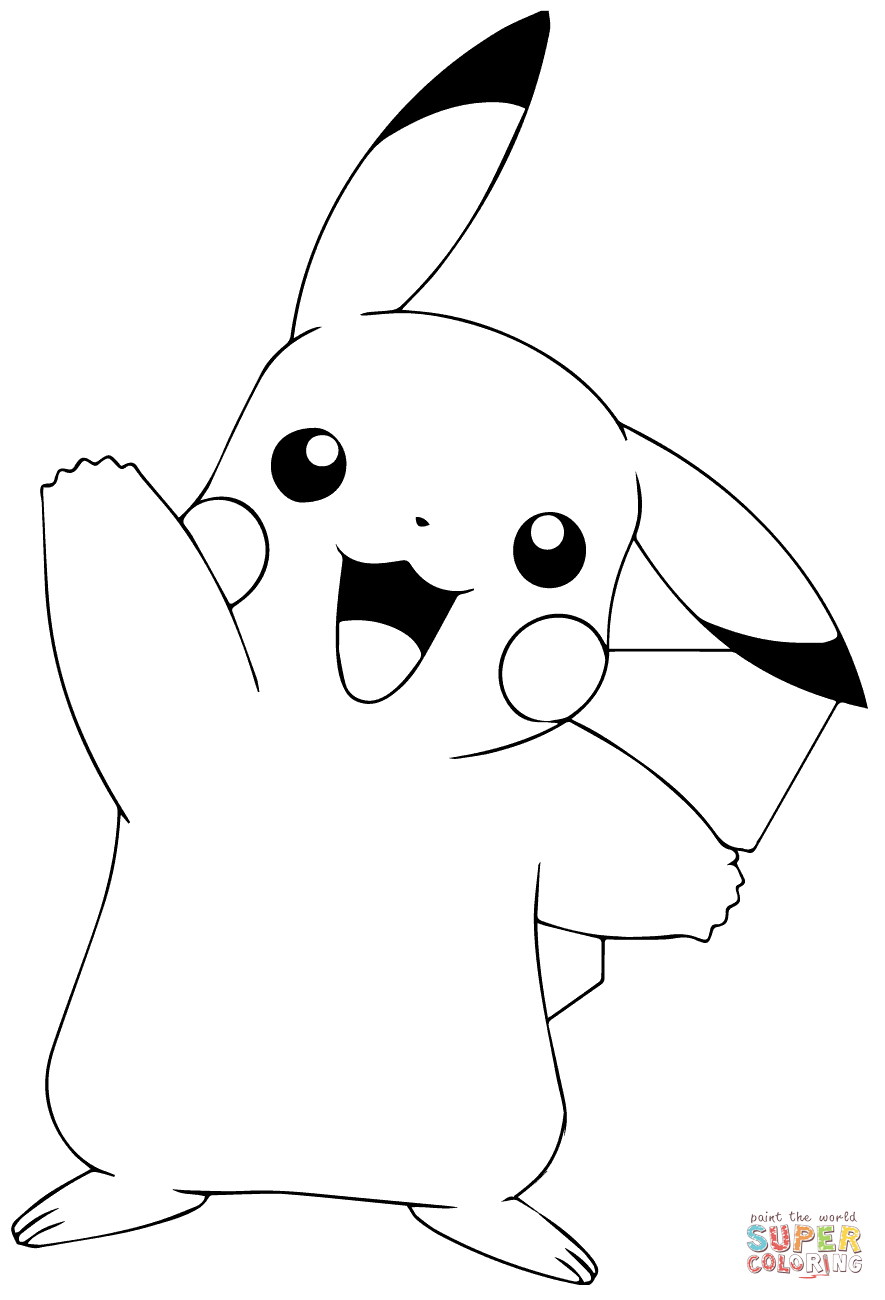 Pokémon Go Pikachu Waving Coloring Page | Free Printable Coloring Pages - Free Printable Pokemon Coloring Pages