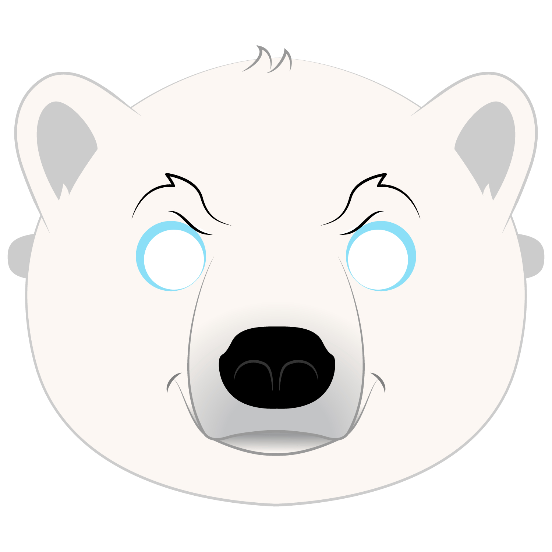 Polar Bear Mask Template   Free Printable Papercraft Templates - Free Printable Bear Mask